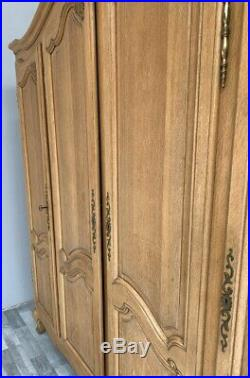 Louis XV Style Vintage French oak Carved 4 door Armoire Wardrobe