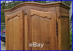 Louis XV Style Vintage oak French Carved 2door Armoire Wardrobe
