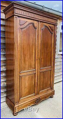 Lovely Antique French Louis XVI Mahogany Armoire / Wardrobe C1870