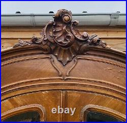 Lovely Antique French Louis XVI Mahogany Glazed Vitirine Armoire Wardrobe C1900