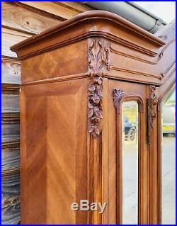 Lovely Antique French Louis XVI Mahogany Triple Mirrored Armoire Wardrobe C1870