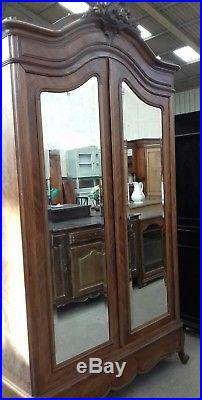 Lovely French Antique Curved Mirror Door Armoire Linen Press From Coutances