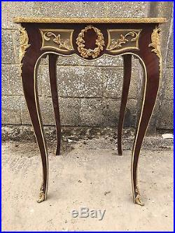 Lovely French Antique Side Table With Bronze, Bedside, Louis XV