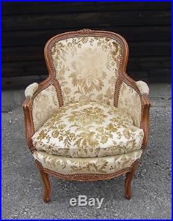 Lovely French Carved Oak Armchair (b057)