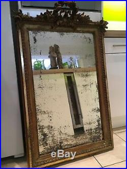 Lovely Large Old French Gilt Wood Mirror With Original Glass, foxing To Glass