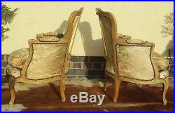 Lovely Pair Antique French Louis XVI Style Beech Wood Arm Chairs Silk 1920's