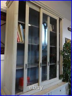 Lovely Very Large Wood Wooden Glazed Sliding Door French Dresser Bookcase Drawer