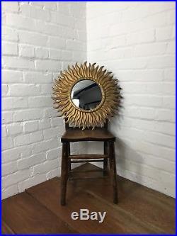 Lrg Vintage French Original 1950s Gilt Sunburst Convex Mirror Antique
