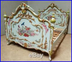 Mahogany 4'6 Double French Painted Floral Blue Antique Romantic Country Bed