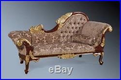 Mahogany French Antique Gold Leaf & Walnut Ornate Sofa Chaise Longue Lounge