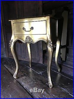 Mahogany French Boudior Ornate Gilt Antique Gold Leaf Cabinet Bedside Side Table