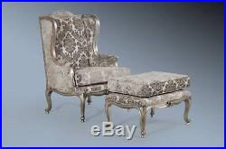 Mahogany French Boudoir Antique Silver Grey Damask Velvet Wingback Throne Chair