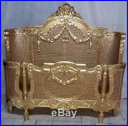 Mahogany Gilt Regency Rattan 5' King French Louis Style Bed Swags Brand New