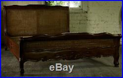 Mahogany Louis Rattan Style 5' King Size Low End French Antique Wax Finish Bed