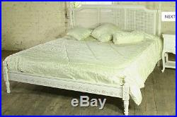 Mahogany Regency Rattan 5' King Size Low End French Antique White Bed New