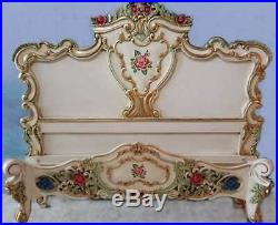 Mahogany Rococo Floral Painted Antique Style 5' King Louis Chateau French Bed