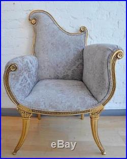 Mahogany Rococo Gilt Gold Leaf Oyster French Ornate Boudior Throne Arm Chair