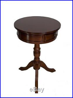 Mahogany Round Drum Table 1 Drawer Antique Style French End Living Room Repro