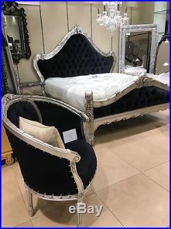 Mahogany Silver Leaf Black Velvet French Ornate Rococo Boudior King size Bed 5ft