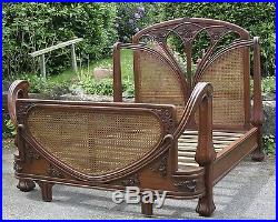 Mahogany and Rattan 5' King Size Art Nouveau French Louis Antique Style Bed