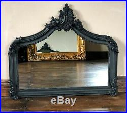 Matt Black French Ornate Period Vintage Over mantle Scroll Arched Wall Mirror