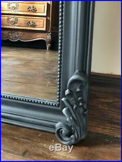 Matt Black French Ornate Statement Over Mantle Scroll Table Top Arch Wall Mirror