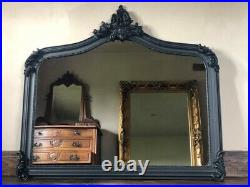 Matt Black Large Statement Gothic Ornate French Over Mantle Arch Wall Mirror