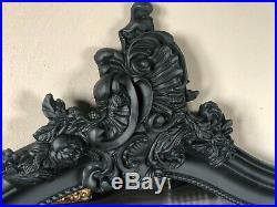 Matt Black Ornate French Scroll Top Full Length Dress Arch Leaner Mirror 6ft