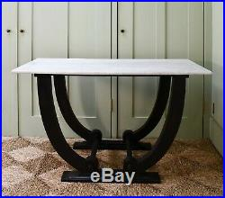 Mid 20th C French Marble Ebony Hall Console Lamp Bed Side Sofa Table