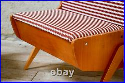 Mid Century French Storage Bench & Matching Chair Ottoman Red Pinstrip