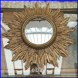 Mid-Century Modern Gilded Wooden Sunburst Convex Mirror possibly French