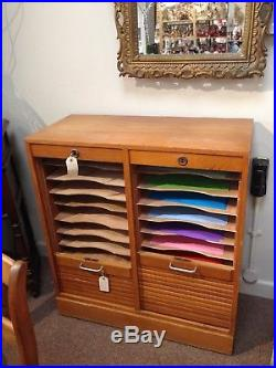 Mid century French double filing cupboard with tambour doors