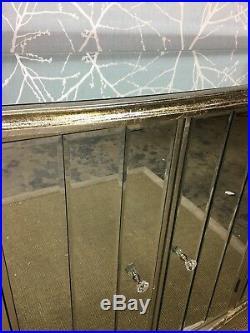 Mirror Panel French Antique Style 4 Door Storage Cabinet Cupboard Sideboard