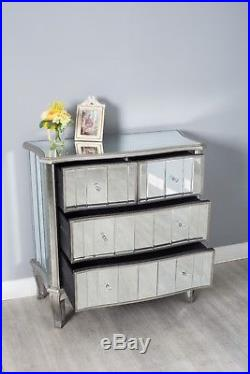 Mirrored Glass 2+2 Chest of Drawers Cabinet French Style Chic Bedroom Furniture
