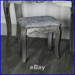 Mirrored Glass Dressing Table Stool French Style Chic Antique Bedroom Furniture