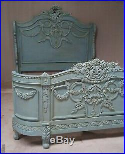 Napoleon 5' King Size Antique Style Mahogany Bed French Blue Rococo Brand New