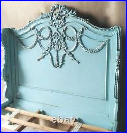 Napoleon 5' King Size Bed Antique Blue Solid Mahogany Carved French Louis New