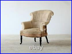 Napoleon III Scroll Back Armchair, French 19th Century, for Reupholstery