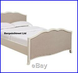 New French Design Style Antique White with Linen Panels 5ft Kingsize Bed Frame