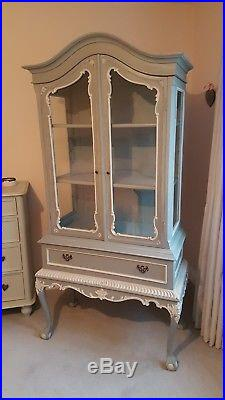 OLD FRENCH DISPLAY CABINET ARMOIRE CUPBOARD Grey with white detailing
