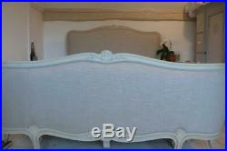 ORIGINAL ANTIQUE FRENCH CORBEILLE DOUBLE BED REUPHOLSTERED in OYSTER LINEN
