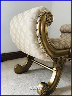 Occasional Statement Gold leaf French Window Seat Stool Bench Ottoman Chair