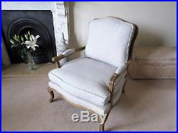 Oka Chantal French-Style Armchair with Weathered Oak Frame and Linen Mix cover
