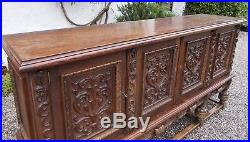 Old French oak sideboard, vintage buffet, storage cabinet, heavy carved cupboard