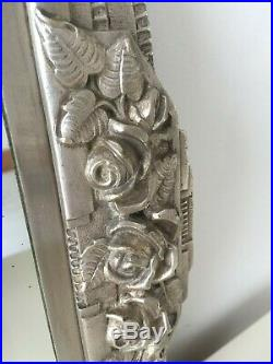Original Art Deco 1930s French Bevelled Overmantle Wall Mirror Vintage 72cm m273