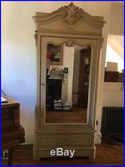 Original Vintage French Armoire Full Mirror Door Wardrobe Linen Press