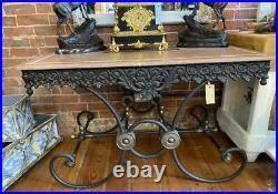Ornate French Butcher / Pastry Table Marble Top Kitchen Island / Garden Table