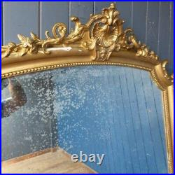 Ornate French Gold Gilt Antique Foxed Wall Mirror