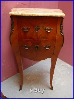 PAIR ANTIQUE 1950s FRENCH MARBLE TOP MARQUETRY BEDSIDE CABINETS CHEST of DRAWERS