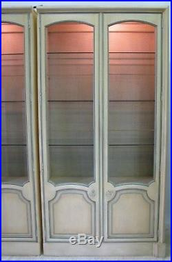 PAIR Baker Furniture Painted Louis XV French Provincial Style Display Cabinets